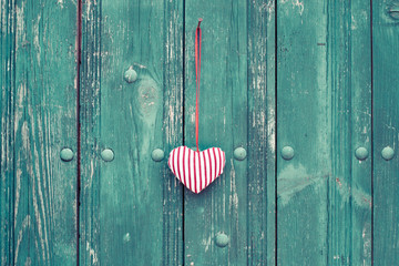 Valentine heart on wooden vintage background