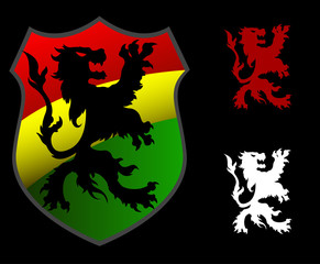 Lion Rastafarian shield