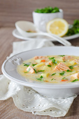 Cheese soup with salmon