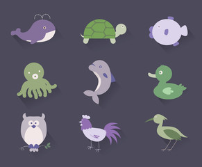 9 flat icon  Livestock, Marine Creatures, Birds