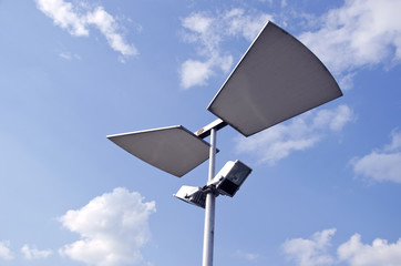 street lamp construction on sky background