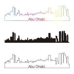 Abu Dhabi skyline linear style with rainbow