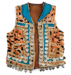 Traditional Afghani waistcoat decorated with old coins