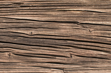 Old weathered wooden railway wagon board closeup as background