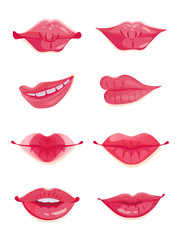 Design set ot eight sexy female lips in hot pink