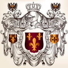 Heraldic design with  coat of arms in vintage style