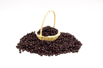 Coffee beans in basket on white  background