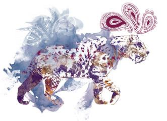 watercolor saber-toothed tiger illustration