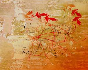 Metallbild - Rote Blumen