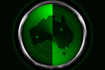 Australia Continent on Radar Screen