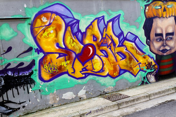 Colorful murales with written and face