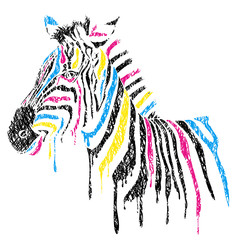 Vector zebra with colored stripes, sketch style