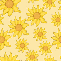 seamless background of sunflowers