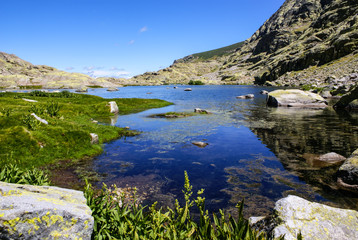 lake at gredos mountains in avila spain