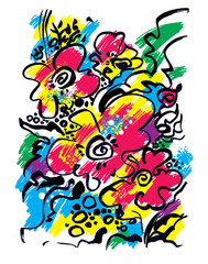 Color graphic illustration of an abstract floral motif