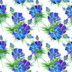 Floral background cornflowers-1.Water color floral background