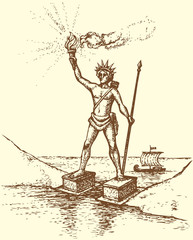 """Series """"Seven Wonders of the Ancient World"""". Colossus of Rhodes"""