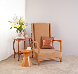 Beige upholstered chair