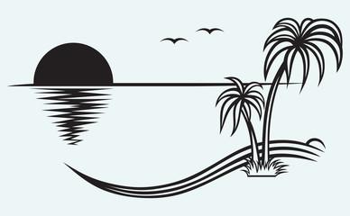 Island palm isolated on blue background