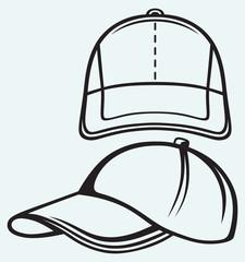 Baseball cap isolated on blue batskground