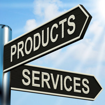 Products Services Signpost Shows Business Merchandise And Servic