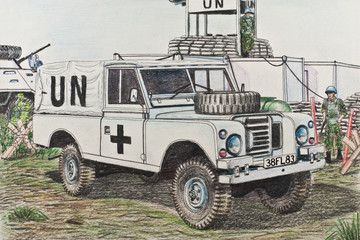 The UN Land Rover at a checkpoint in Kosovo
