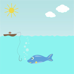 Fish and hook, underwater background