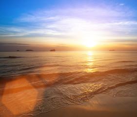 Beautiful sunset on coast sea.