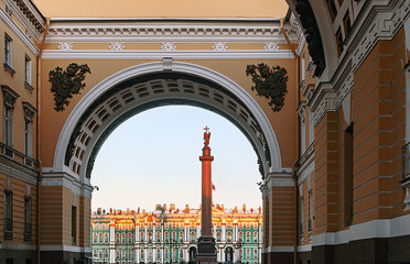 Winter Palace view through Senate Arch at dawn, St Petersburg