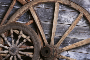 Old wheels from a cart
