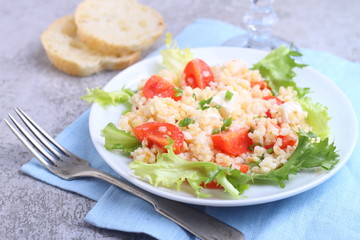 salad with tomatoes, feta cheese, grits and green