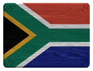 south Africa flag on wood tag
