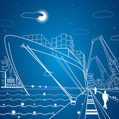 Vector lines cargo ship, ship on the water, port, cargo port