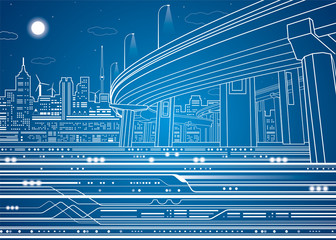 Vector city, vector lines overpass, bridge, underground, train