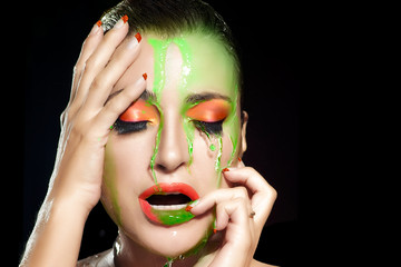 Fluor Makeup Explosion. Beauty and Fashion under Flowing Water