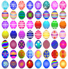 set of Easter eggs on the white background