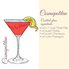 Cosmopolitan. Cocktails. Vector illustration
