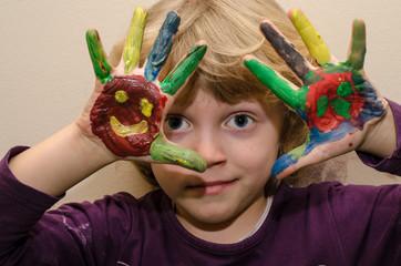 child painting hand