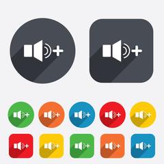 Speaker volume louder sign icon. Sound symbol.