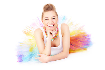 Happy and colourful ballerina