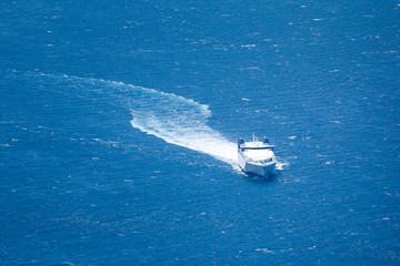 boat in the blue sea