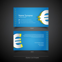 Modern simple light business card template with euro symbol