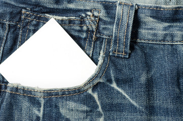 Blank note in a jeans pocket
