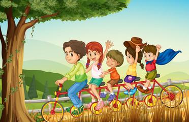 A group of people biking