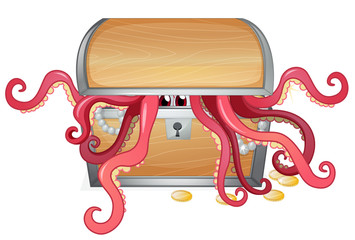 A treasure box with an octopus inside