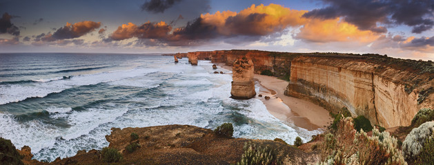 Photo sur Aluminium Australie GOR 6 Apostles Sunrise panorama