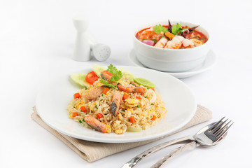 Salmon fried rice and tom yum goong,
