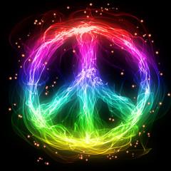 Abstract rainbow peace sign