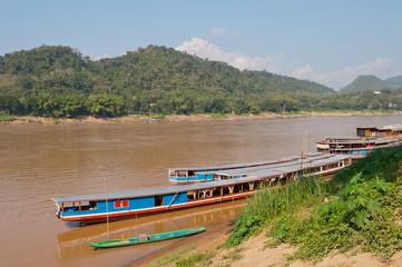 Boats on the Mekong river. Luang Prabang. Laos.