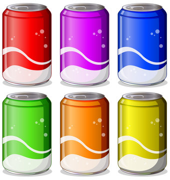 Six colorful soda cans
